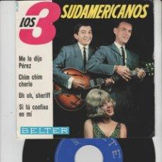 Discos de vinilo: LOTE V-DISCO VINILO MUSICA LOS TRES SUDAMERICANOS SINGLE. Lote 211274460