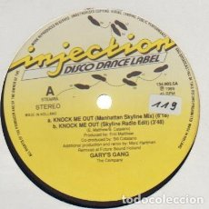 Discos de vinilo: GARY'S GANG – KNOCK ME OUT - MAXI INJECTION DISCO DANCE LABEL – NETHERLANDS 1989. Lote 211385500