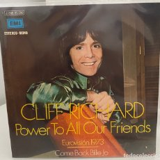 Discos de vinilo: CLIFF RICHARD-POWER TO ALL OUR FRIENDS/COME BACK BILLIE JO/EUROVISION 1973/SINGLE 1973 EMI,ESPAÑA. Lote 211409102