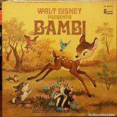 Discos de vinilo: WALT DISNEY - BAMBI - CANCIONES EN CASTELLANO Y LIBRO ILUSTRADO A TODO COLOR. Lote 211410705