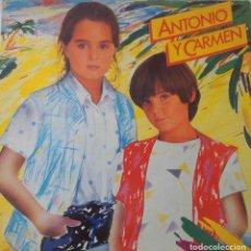 Discos de vinilo: ANTONIO Y CARMEN. SOPA DE AMOR. ( ROCIO DURCAL-JUNIOR ). LP ORIGINAL PORTADA ABIERTA. Lote 211418554