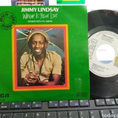 Discos de vinilo: JIMMY LINDSAY SINGLE PROMOCIONAL WHERE IS YOUR LOVE ESPAÑA 1980. Lote 211422875