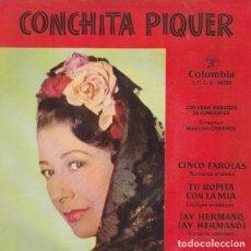 Discos de vinilo: CONCHITA PIQUER, EP, CINCO FAROLAS + 3, AÑO 1962 + RECORTES PERIODICO SOBRE LA ARTISTA. Lote 211424740
