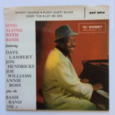 Discos de vinilo: DAVE LAMBERT , JON HENDRICKS, JOE WILLIAMS, ANNIE ROSS PLUS THE BASIE BAND ‎– SING ALONG WITH BASIE. Lote 211429544