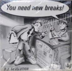 "Discos de vinilo: DJ REVOLUTION - NEED BREAKS!! [HIP HOP / SCRATCH / TURNTABLISM] [DJ BATTEL TOOL LP 12"" 33RPM] [1999]. Lote 211434842"