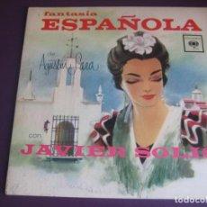 Discos de vinilo: FANTASIA ESPAÑOLA DE AGUSTIN LARA CON JAVIER SOLIS LP CBS - MEXICO BOLERO MARIACHI ARCADIO ELIAS -. Lote 211451551