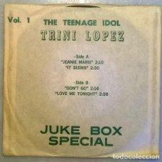 Discos de vinilo: TRINI LÓPEZ. JEANIE MARIE/ IT SEEMS/ DON'T GO/ LOVE ME TONIGHT. KING, USA 1963 EP. Lote 211456744