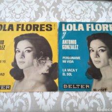 Discos de vinilo: 2 SINGLES LOLA FLORES PERDONAME MI VIDA GITANA YE YE. Lote 211458462