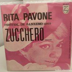 Disques de vinyle: RITA PAVONE-/ZUCCHERO/NOSTALGIA/FESTIVAL SANREMO 1969/SINGLE 1969 PHILIPS,ESPAÑA. Lote 211463314