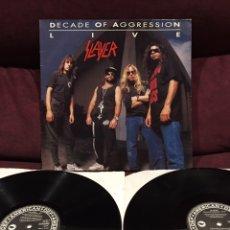Discos de vinilo: SLAYER - DECADE OF AGGRESSION LIVE, LP DOBLE, OPORTUNIDAD!!. Lote 211587675
