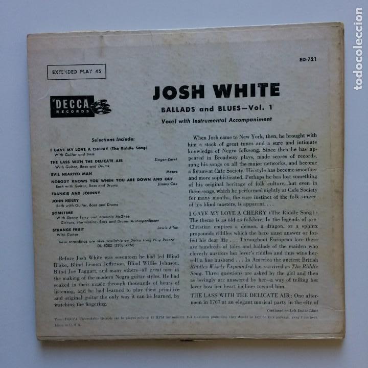 Discos de vinilo: Josh White – Ballads and Blues 2PS UK 1955 DECCA - Foto 2 - 211628162