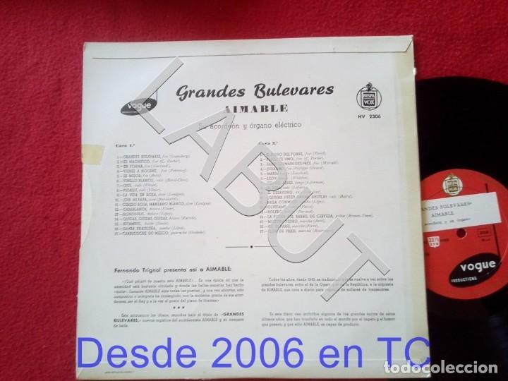 Discos de vinilo: AIMABLE GRANDES BULEVARES HISPA VOX HV 2306 250 GRS D1 - Foto 2 - 211634852