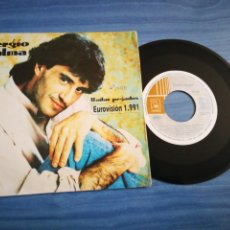 Discos de vinilo: SERGIO DALMA BAILAR PEGADOS SINGLE VINILO PROMOCIONAL EUROVISION ESPAÑA 1991 2 VERSIONES MUY RARO. Lote 211638961