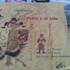 Discos de vinilo: PROKOFIEFF - PEDRO Y EL LOBO (LA VOZ DE SU AMO, 1959) ORQ.FILKARMONIA & KARAJAN - 10 PULGADAS - RARO. Lote 211665119