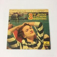 """Discos de vinilo: EP 7"""" - JOSÉ GUARDIOLA - 3ER FESTIVAL DE LA CANCIÓN MEDITERRÁNEA - VINILO DE COLOR ROJO, AÑO 1961. Lote 211667150"""