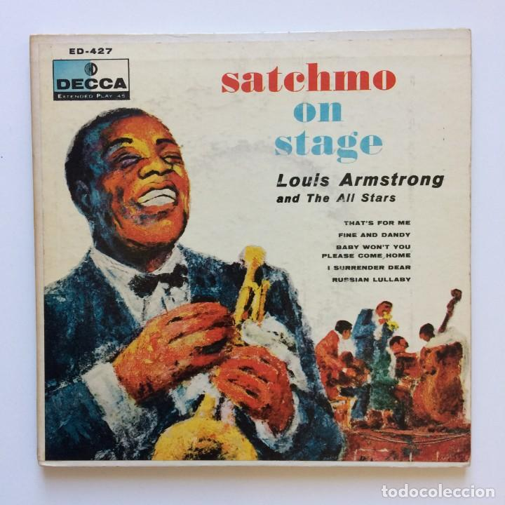 LOUIS ARMSTRONG AND THE ALL STARS – SATCHMO ON STAGE 2 SINGLES USA 1956 DECCA (Música - Discos de Vinilo - EPs - Jazz, Jazz-Rock, Blues y R&B)