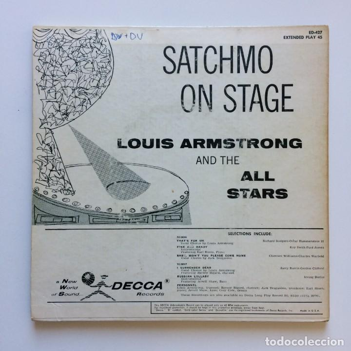 Discos de vinilo: Louis Armstrong And The All Stars – Satchmo On Stage 2 SINGLES USA 1956 DECCA - Foto 2 - 211694888