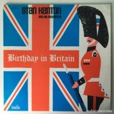 Discos de vinilo: FIRMADO, STAN KENTON AND HIS ORCHESTRA – BIRTHDAY IN BRITAIN, US 1973 CREATIVE WORLD. Lote 211754820