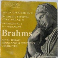 Dischi in vinile: BRAHMS - TRAGIC OVERTURE - ACADEMIC FESTIVAL - SYMPHONY Nº 3 - DIR. ANTAL DORATI - LP. Lote 211757125
