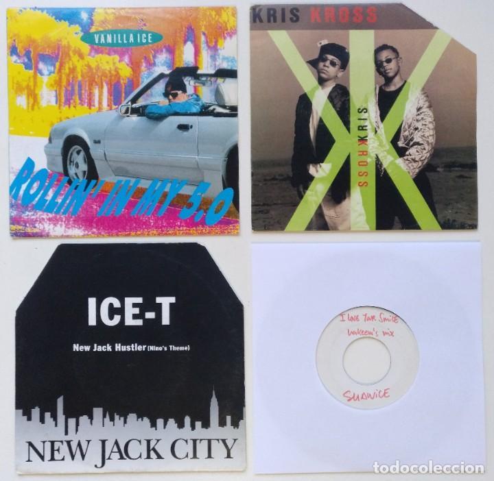 "[[ LOTE 7"" 45RPM ]] ICE-T -NEW JACK CITY / VANILLA ICE / SHANICE / KRIS KROSS -JUMP RAP 1990 (Música - Discos - Singles Vinilo - Rap / Hip Hop)"