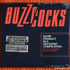 Discos de vinilo: BUZZCOCKS - MORE PRODUCT IN A DIFFERENT COMPILATION VINILO COLOR NARANJA 2LP PRECINTADO. Lote 212004710