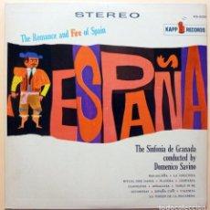 Discos de vinilo: SINFONIA DE GRANADA BY DOMENICO SAVIANO: ROMANCE & FIRE OF SPAIN-LP-VENEVOX (VENEZUELA)-1961-(VG/NM). Lote 212117550