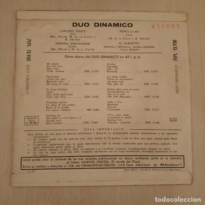 Discos de vinilo: Dúo Dinámico - Canción Triste / Adivina Adivinador / Pepes Clan / El Barquito - EP Año 1963 EX - Foto 2 - 212221202