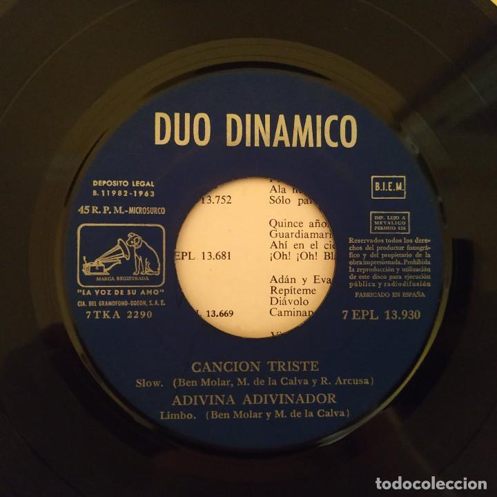 Discos de vinilo: Dúo Dinámico - Canción Triste / Adivina Adivinador / Pepes Clan / El Barquito - EP Año 1963 EX - Foto 3 - 212221202