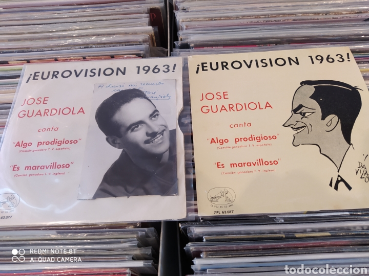 Discos de vinilo: Jose Guardiola - Eurovisión 1963 - Algo prodigioso - Incluye 2 carátulas una con foto firmada - Foto 2 - 212274585