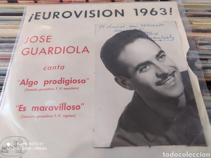 Discos de vinilo: Jose Guardiola - Eurovisión 1963 - Algo prodigioso - Incluye 2 carátulas una con foto firmada - Foto 3 - 212274585