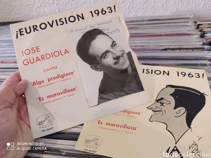 Discos de vinilo: Jose Guardiola - Eurovisión 1963 - Algo prodigioso - Incluye 2 carátulas una con foto firmada - Foto 4 - 212274585