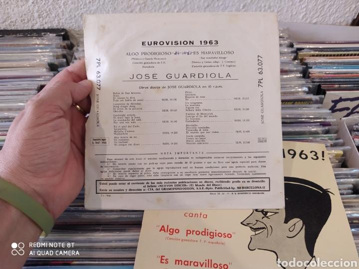 Discos de vinilo: Jose Guardiola - Eurovisión 1963 - Algo prodigioso - Incluye 2 carátulas una con foto firmada - Foto 5 - 212274585