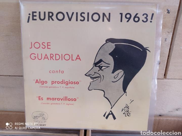 JOSE GUARDIOLA - EUROVISIÓN 1963 - ALGO PRODIGIOSO - INCLUYE 2 CARÁTULAS UNA CON FOTO FIRMADA (Música - Discos - Singles Vinilo - Grupos Españoles 50 y 60)