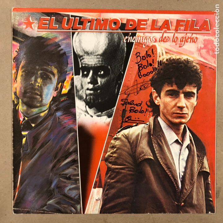 """- L.P. VINILO - EL ÚLTIMO DE LA FILA """"ENEMIGOS DE LO AJENO"""" (PDI 1986). DEDICADO POR QUIMI Y MANOLO (Música - Discos - LP Vinilo - Grupos Españoles de los 70 y 80)"""