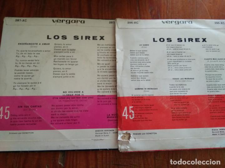 Discos de vinilo: LOS SIREX - 2 DISCOS SINGLES - Foto 2 - 212345716
