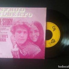 Discos de vinilo: ASTRUD GILBERTO LOVE STORY SINGLE SPAIN 1971 PEPETO TOP. Lote 212874553