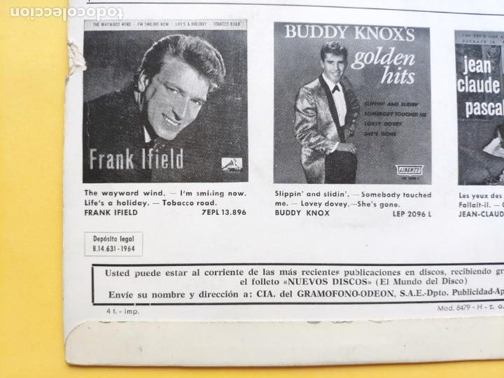 Discos de vinilo: JOHNNY HODGES - EP Spain PS - EX+ * MONKEY SHACK * TOP MOD JAZZ * Año 1964 * 7EPL 14.042 - Foto 3 - 212881313