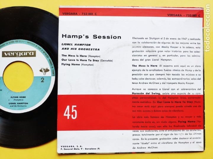Discos de vinilo: LIONEL HAMPTON - EP Spain PS * THE MESS IS HERE + 3 - Foto 2 - 212881505