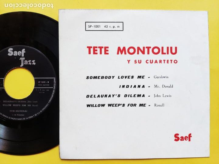 Discos de vinilo: TETE MONTOLIU y su conjunto - EP Spain PS - 2º VOLUMEN * DELAUNAY S DILEMA + 3 * Año 1959 - Foto 2 - 212881857