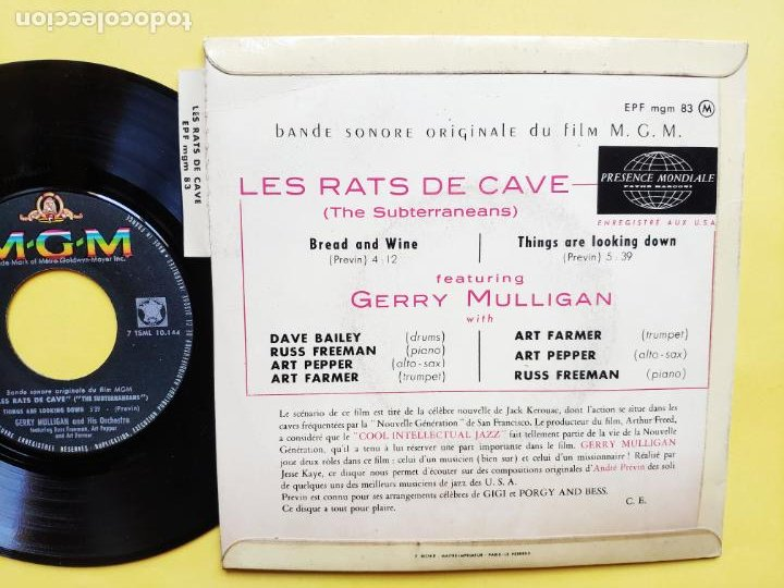 Discos de vinilo: GERRY MULLIGAN - EP France PS - EX * LES RATS DE CAVE * BREAD AND WINE / THINGS ARE LOOKING DOWN - Foto 2 - 212883255