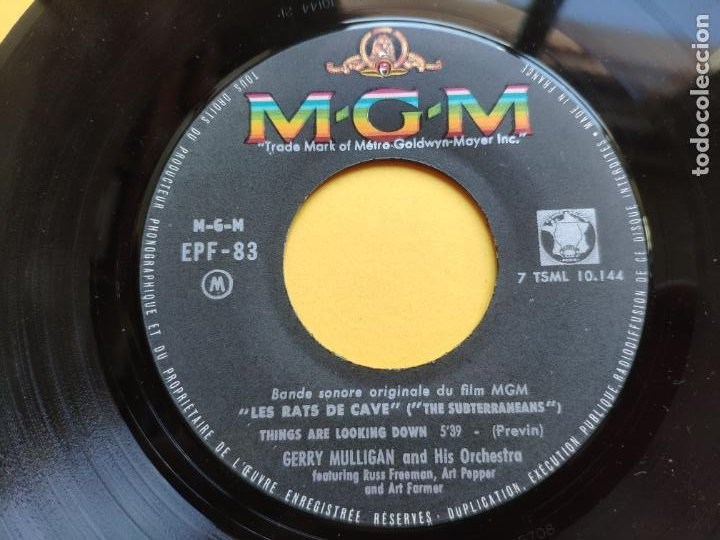 Discos de vinilo: GERRY MULLIGAN - EP France PS - EX * LES RATS DE CAVE * BREAD AND WINE / THINGS ARE LOOKING DOWN - Foto 5 - 212883255