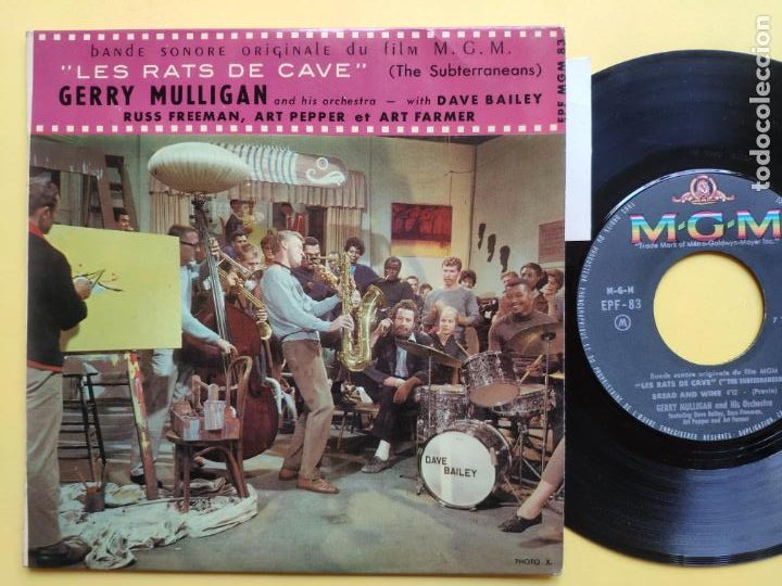 GERRY MULLIGAN - EP FRANCE PS - EX * LES RATS DE CAVE * BREAD AND WINE / THINGS ARE LOOKING DOWN (Música - Discos de Vinilo - EPs - Jazz, Jazz-Rock, Blues y R&B)