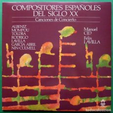 Discos de vinilo: COMPOSITORES ESPAÑOLES DEL SIGLO XX: CANCIONES DE CONCIERTO - LP PROMOCIONAL - 1986 - NUEVO (NM/NM). Lote 212945681