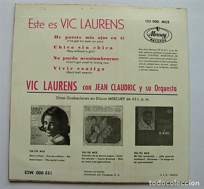 "Discos de vinilo: VIC LAURENS Very Rare Spain 7"" EP 1964 IVE GOT MY EYES ON YOU + 3 Rock & Roll - Foto 3 - 212962577"