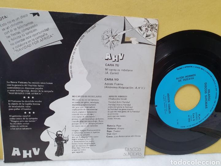Discos de vinilo: AHV. EN NAVIDAD TAMBIEN COMEMOS. SINGLE 1986. HILARGI DISCOS SUICIDAS. - Foto 2 - 213150670