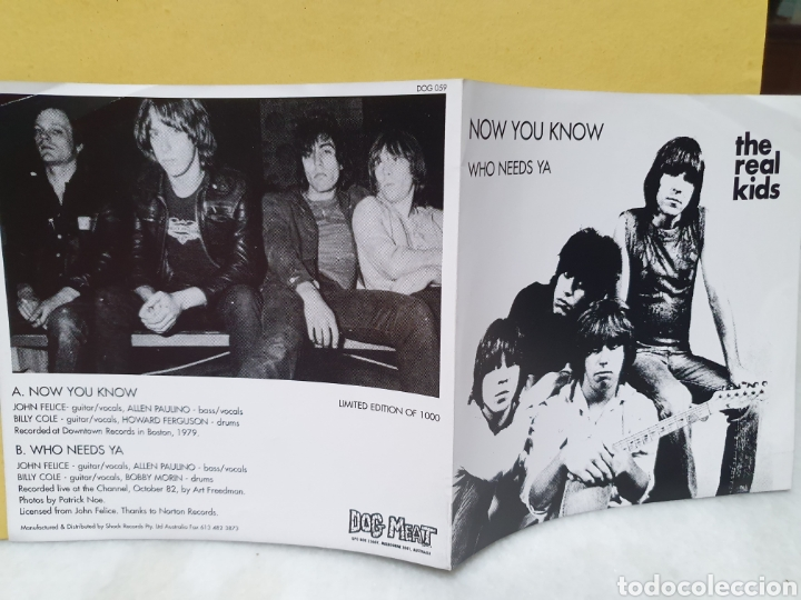 Discos de vinilo: THE REAL KIDS. NOW YOU KNOW. WHO NEEDS YA. DOG MEAT RECORDS. EDICION LIMITADA 1000. SINGLE 1994. - Foto 6 - 213187513