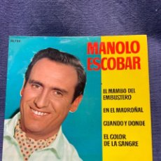 Discos de vinilo: DISCO BELTER MANOLO ESCOBAR MAMBO DEL EMBUSTERO MADROÑAL CUANDO DONDE COLOR SANGRE. Lote 213254517