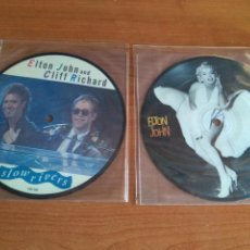 Discos de vinilo: ELTON JOHN LOTE 2 PICTURE DISC CLIFF RICHARD SLOW RIVERS - CANDLE IN THE WIND 1986 LIVE IN AUSTRALIA. Lote 213295152