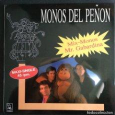 Discos de vinilo: LP MAXI-SINGLE 1990 (MUY BUEN ESTADO) MONOS DEL PEÑÓN SELLO HORUS - MIX MONOS - MR. GABARDINA. Lote 213303525