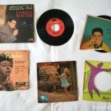 Discos de vinilo: 4 SINGLES Y 2 CARÁTULAS EXTRA DE MÚSICA FRANCESA AÑOS 60. ENRICO MACIAS, MOUSTAKI, DISTEL,. Lote 194249622